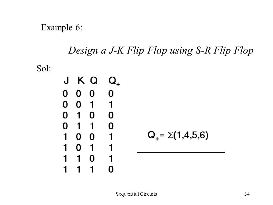 Sequential Circuits34 Example 6: Design a J-K Flip Flop using S-R Flip Flop Sol: