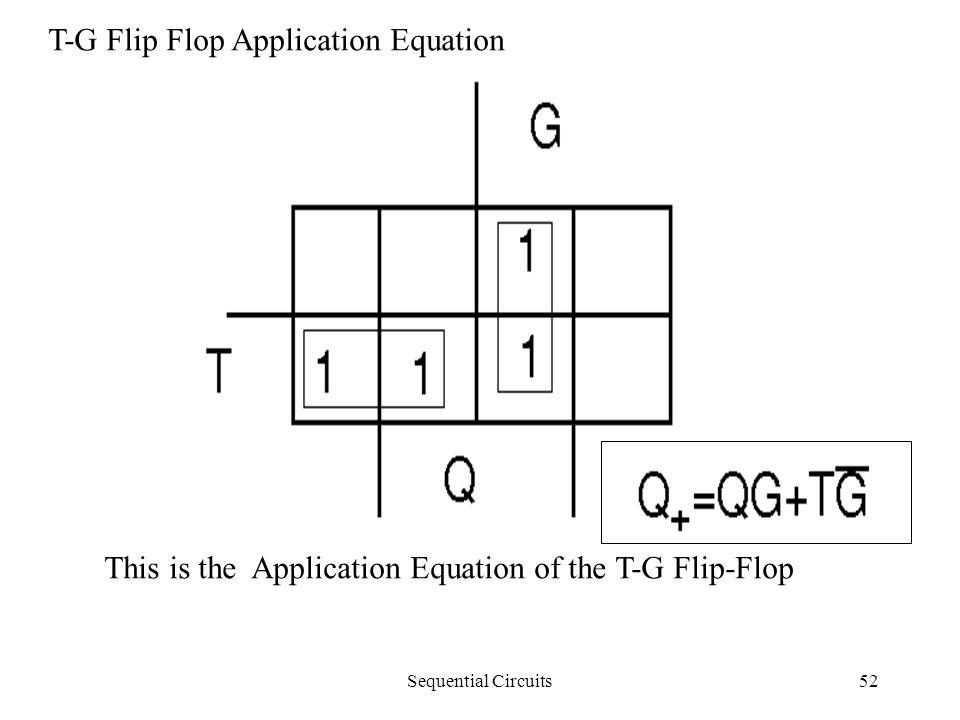 Sequential Circuits52 T-G Flip Flop Application Equation This is the Application Equation of the T-G Flip-Flop