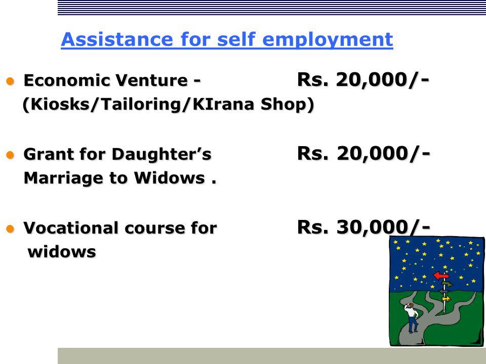 Assistance for self employment Economic Venture - Rs. 20,000/- Economic Venture - Rs. 20,000/- (Kiosks/Tailoring/KIrana Shop) (Kiosks/Tailoring/KIrana