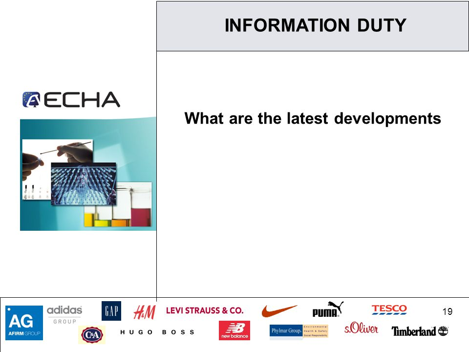 19 What are the latest developments INFORMATION DUTY
