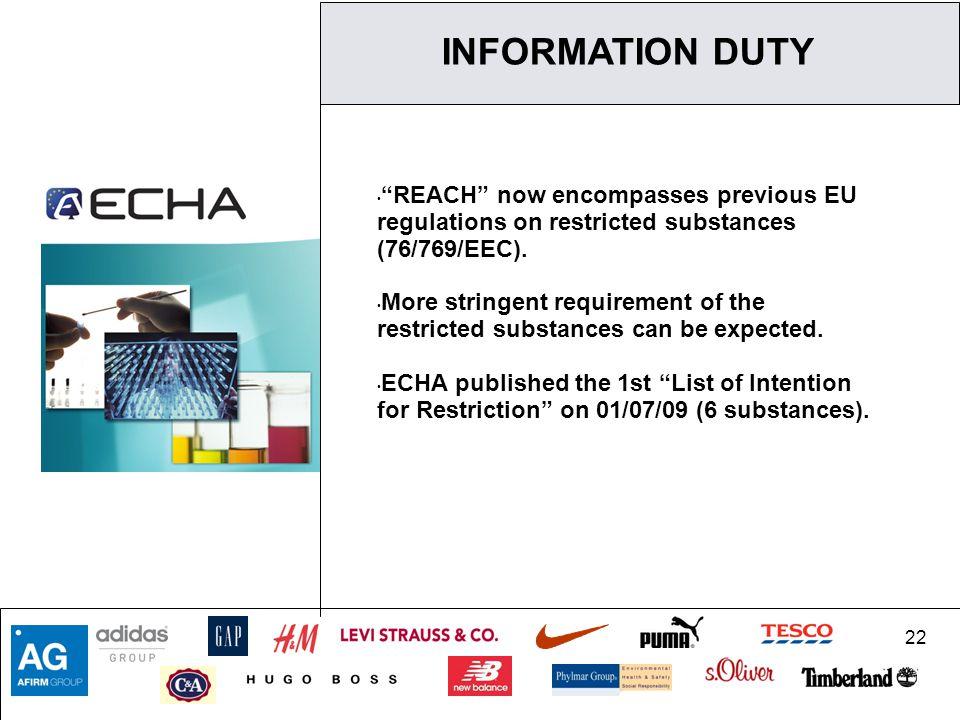 22 REACH now encompasses previous EU regulations on restricted substances (76/769/EEC).