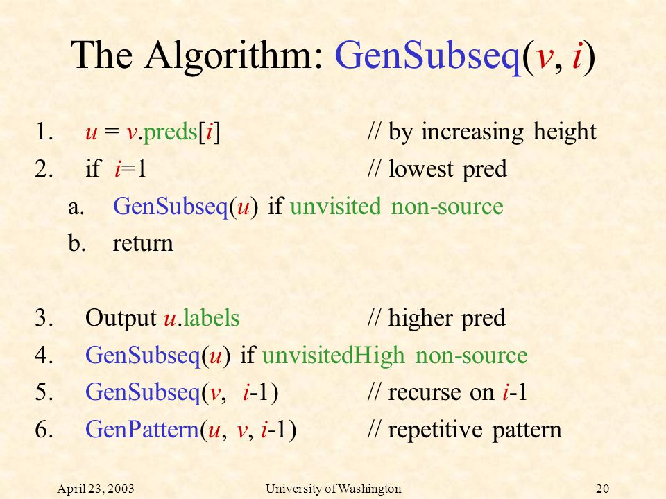 April 23, 2003University of Washington20 The Algorithm: GenSubseq(v, i) 1.