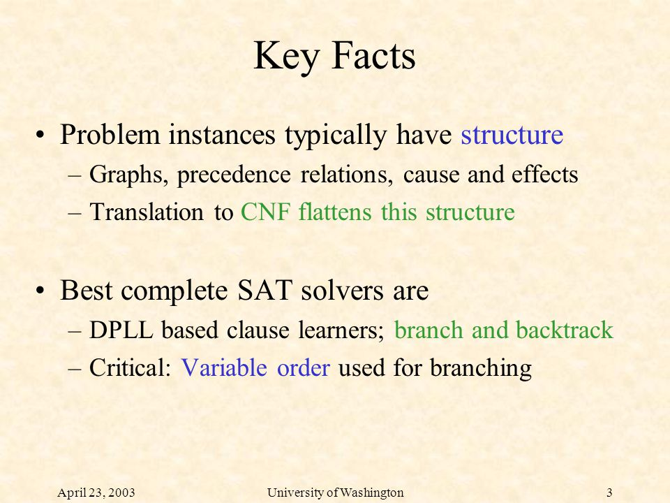 April 23, 2003University of Washington3 Key Facts Problem instances typically have structure –Graphs, precedence relations, cause and effects –Translation to CNF flattens this structure Best complete SAT solvers are –DPLL based clause learners; branch and backtrack –Critical: Variable order used for branching