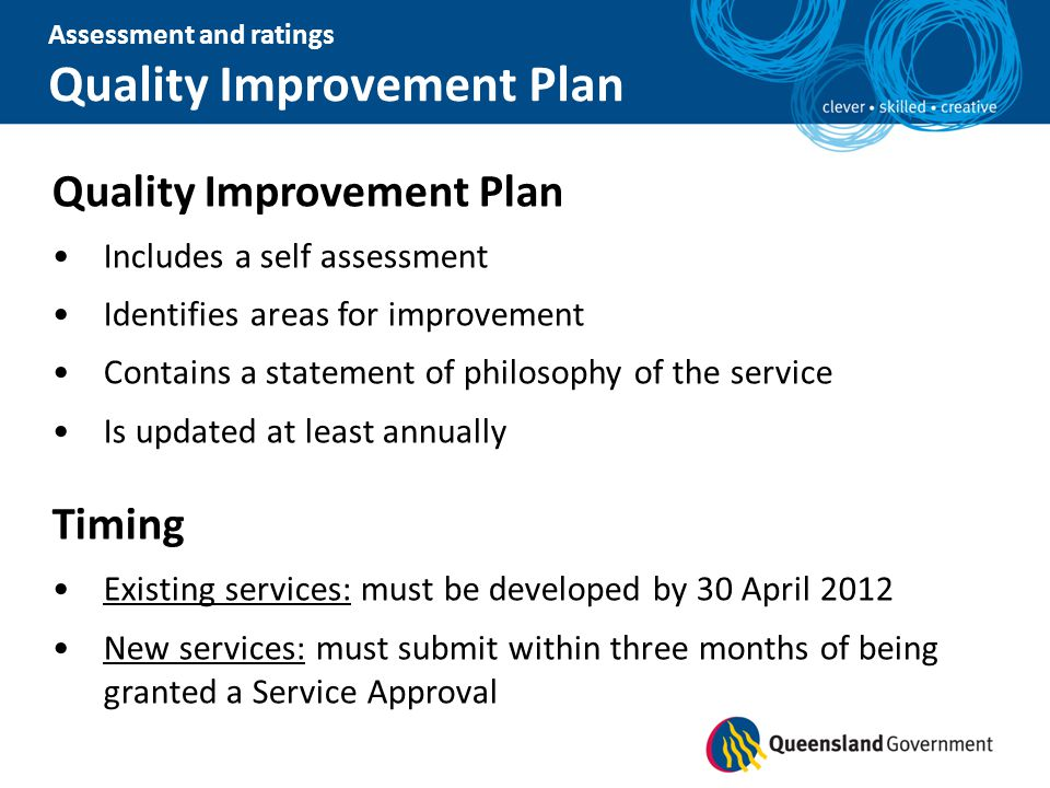 Quality Improvement Plan Includes a self assessment Identifies areas for improvement Contains a statement of philosophy of the service Is updated at l