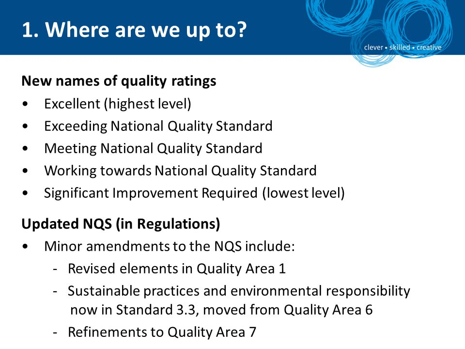 New names of quality ratings Excellent (highest level) Exceeding National Quality Standard Meeting National Quality Standard Working towards National