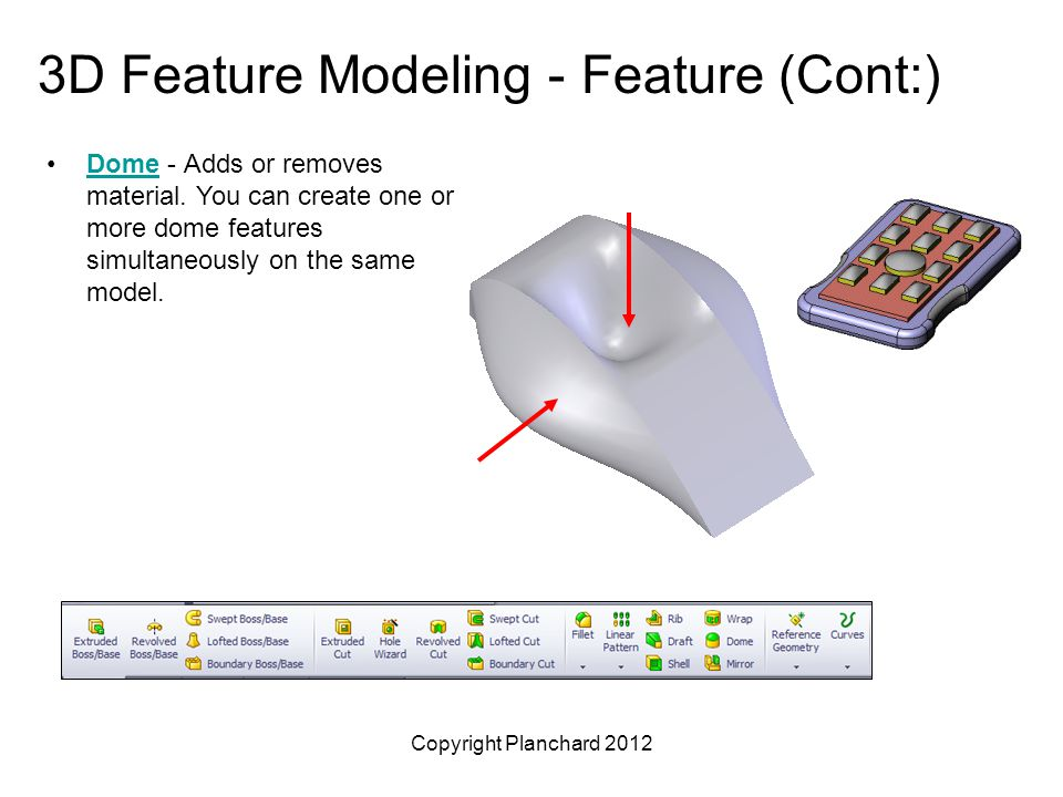 Copyright Planchard 2012 3D Feature Modeling - Feature (Cont:) Dome - Adds or removes material.