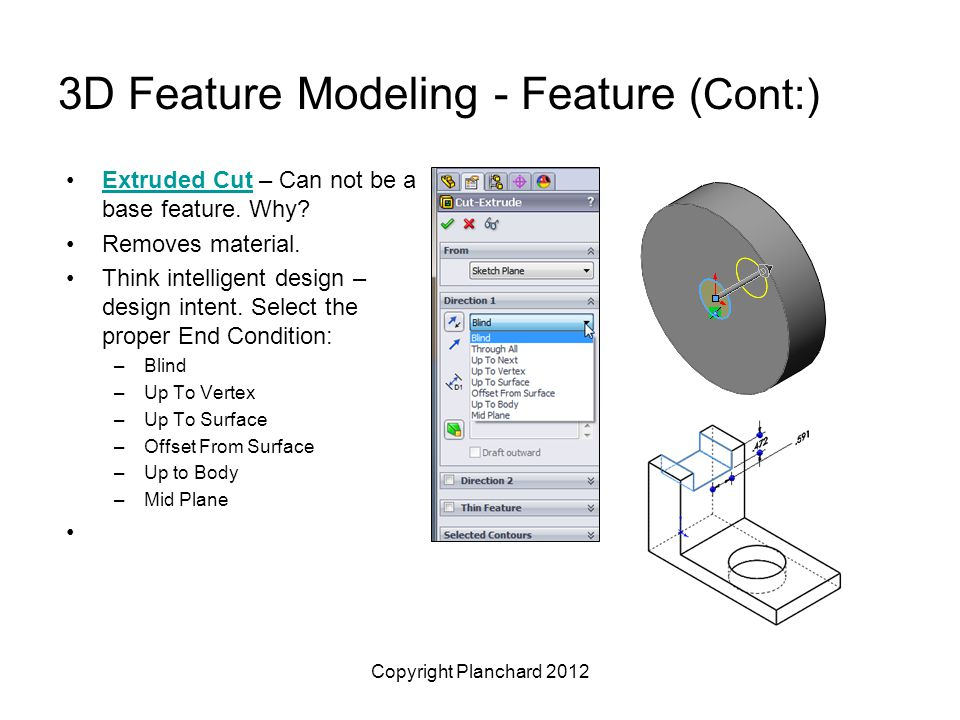 Copyright Planchard 2012 3D Feature Modeling - Feature (Cont:) Extruded Cut – Can not be a base feature.