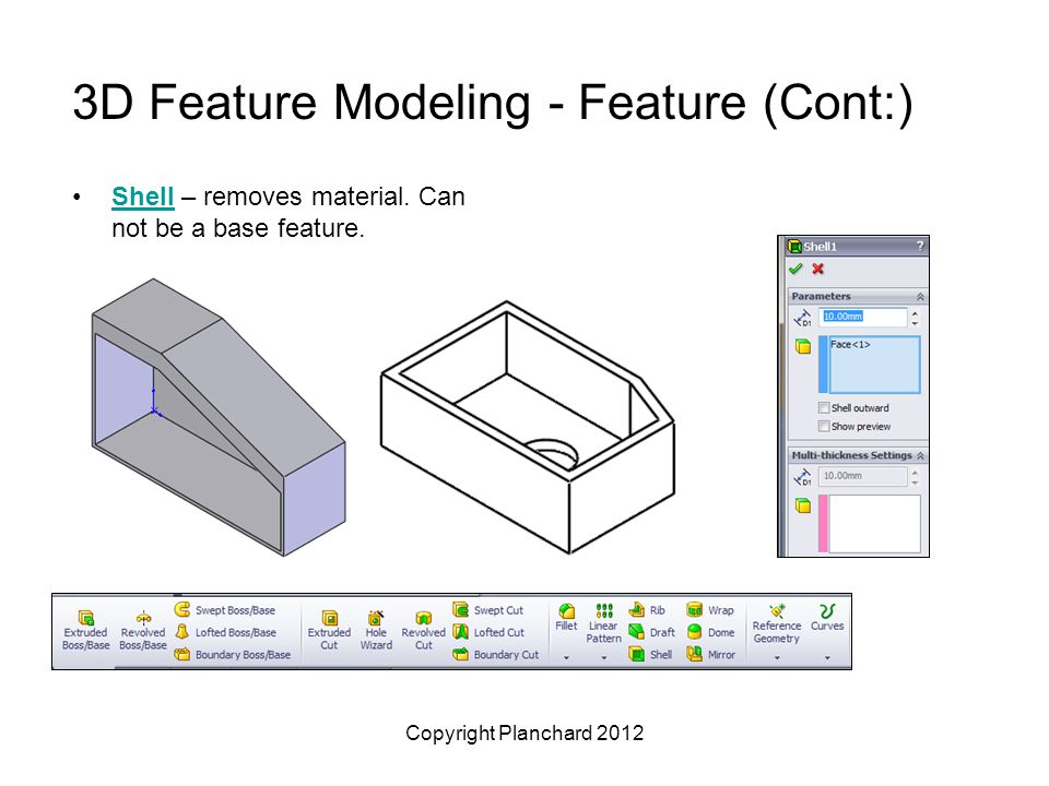 Copyright Planchard 2012 3D Feature Modeling - Feature (Cont:) Shell – removes material. Can not be a base feature.Shell