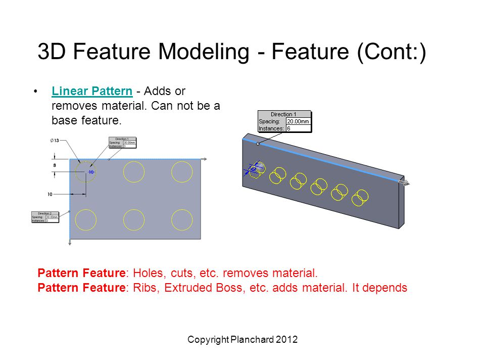 Copyright Planchard 2012 3D Feature Modeling - Feature (Cont:) Linear Pattern - Adds or removes material.