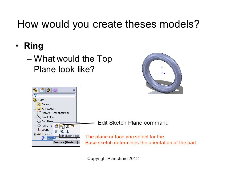 Copyright Planchard 2012 How would you create theses models? Ring –What would the Top Plane look like? Edit Sketch Plane command The plane or face you