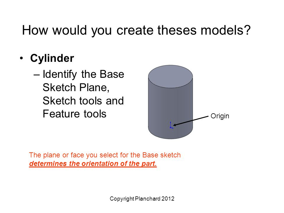 Copyright Planchard 2012 How would you create theses models? Cylinder –Identify the Base Sketch Plane, Sketch tools and Feature tools The plane or fac