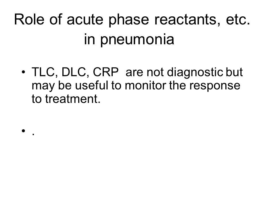 Role of acute phase reactants, etc.