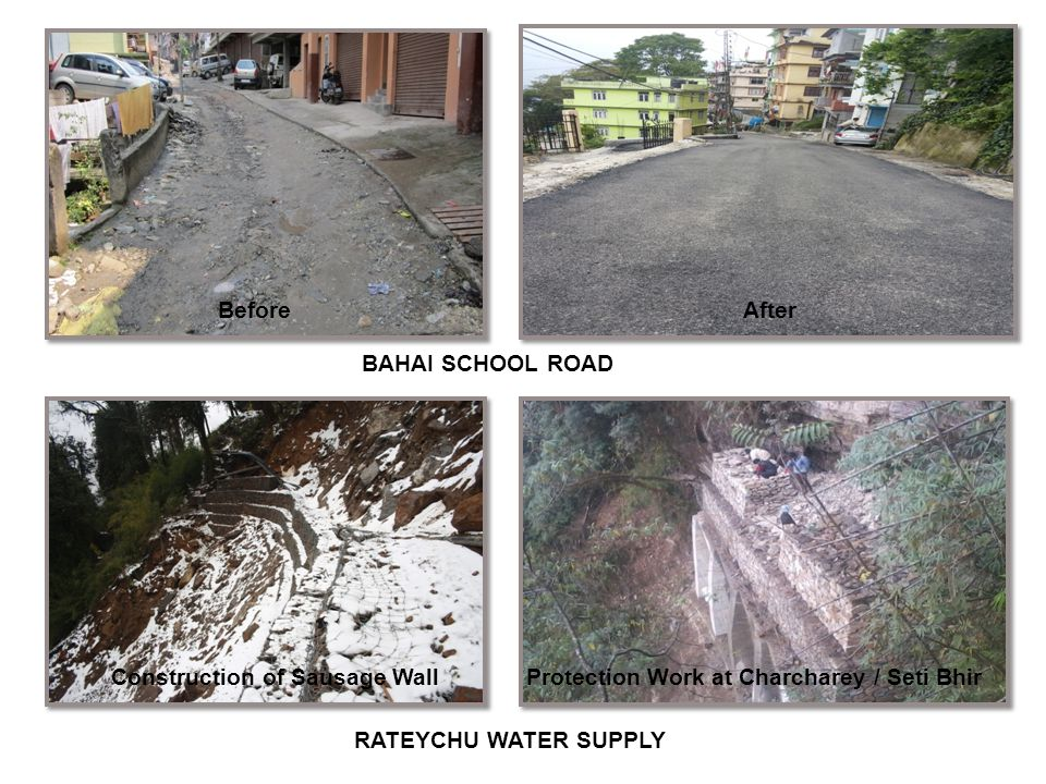 BAHAI SCHOOL ROAD BeforeAfter RATEYCHU WATER SUPPLY Construction of Sausage Wall Protection Work at Charcharey / Seti Bhir