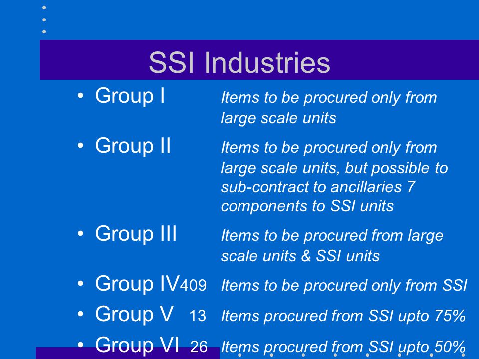 SSI Industries Examples of Group IV Items (total 409) Agri ImplementsBagsBandage cloth Barbed wireBattery chargerBench vices Bolts & NutsBoots & ShoesBrooms BrushesBucketsCeiling rose CirclipsCoir ropeDistbn Bd 15A GlueHand lampsHelmets HingesHyd Jacks<30TManhole cover