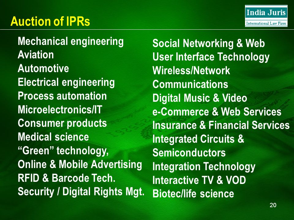 20 Auction of IPRs Mechanical engineering Aviation Automotive Electrical engineering Process automation Microelectronics/IT Consumer products Medical science Green technology, Online & Mobile Advertising RFID & Barcode Tech.