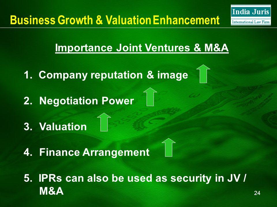 24 1. Company reputation & image 2.Negotiation Power 3.Valuation 4.Finance Arrangement 5.