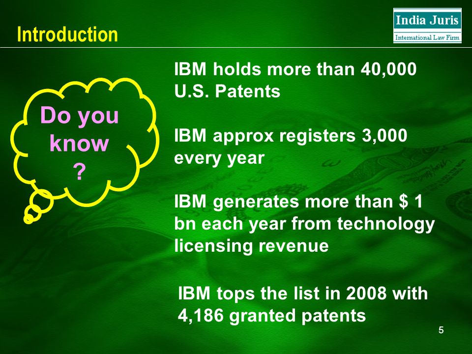 5 Introduction IBM holds more than 40,000 U.S. Patents IBM approx registers 3,000 every year IBM generates more than $ 1 bn each year from technology