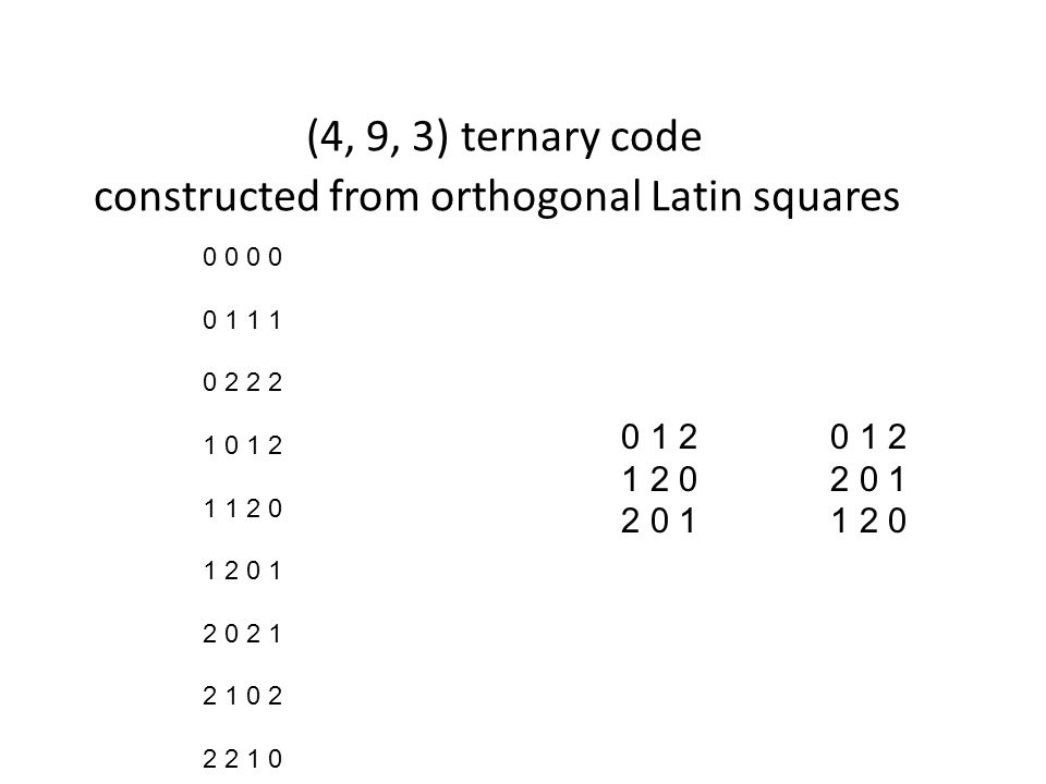 (4, 9, 3) ternary code constructed from orthogonal Latin squares 0 0 0 1 1 1 0 2 2 2 1 0 1 2 1 1 2 0 1 2 0 1 2 0 2 1 2 1 0 2 2 2 1 0 0 1 2 1 2 02 0 1 2 0 11 2 0