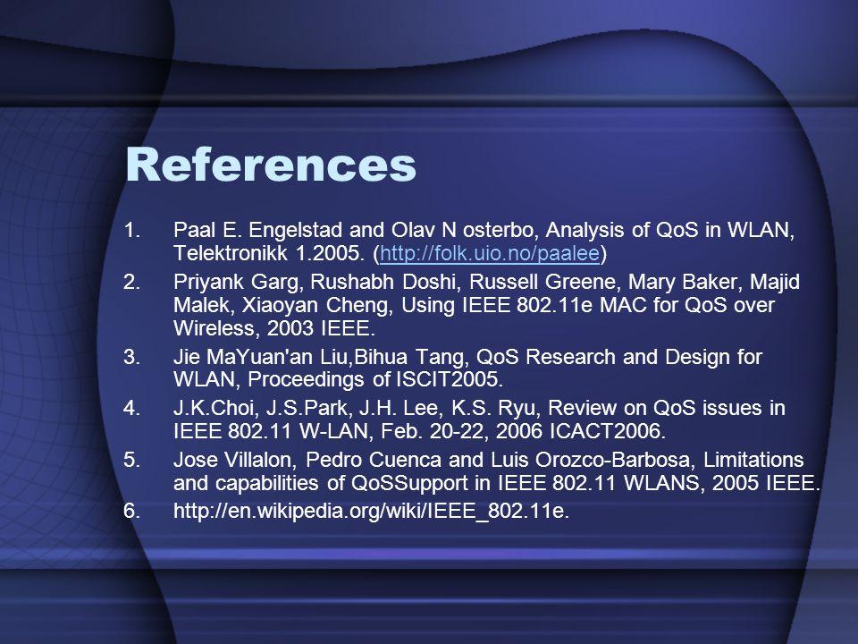 References 1.Paal E. Engelstad and Olav N osterbo, Analysis of QoS in WLAN, Telektronikk 1.2005. (http://folk.uio.no/paalee)http://folk.uio.no/paalee