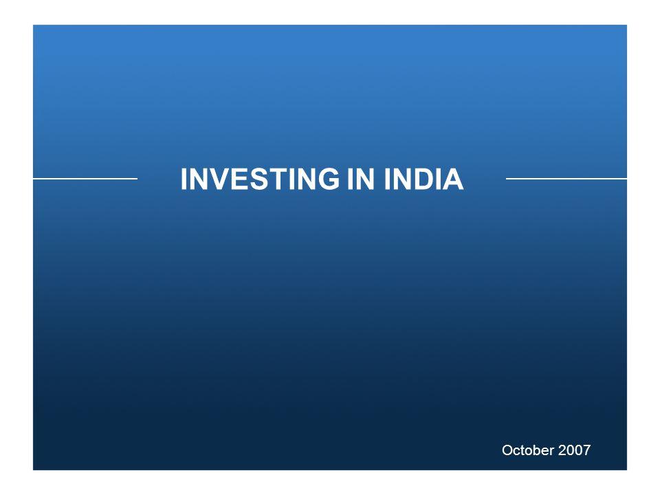 INVESTING IN INDIA October 2007