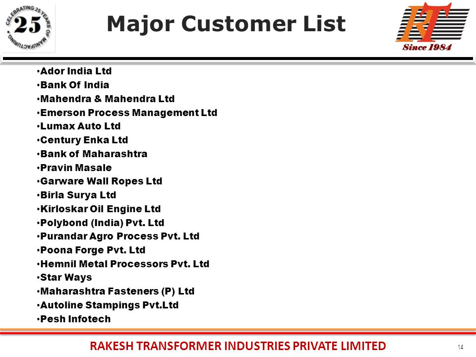 RAKESH TRANSFORMER INDUSTRIES PRIVATE LIMITED 14 Major Customer List Ador India Ltd Bank Of India Mahendra & Mahendra Ltd Emerson Process Management Ltd Lumax Auto Ltd Century Enka Ltd Bank of Maharashtra Pravin Masale Garware Wall Ropes Ltd Birla Surya Ltd Kirloskar Oil Engine Ltd Polybond (India) Pvt.