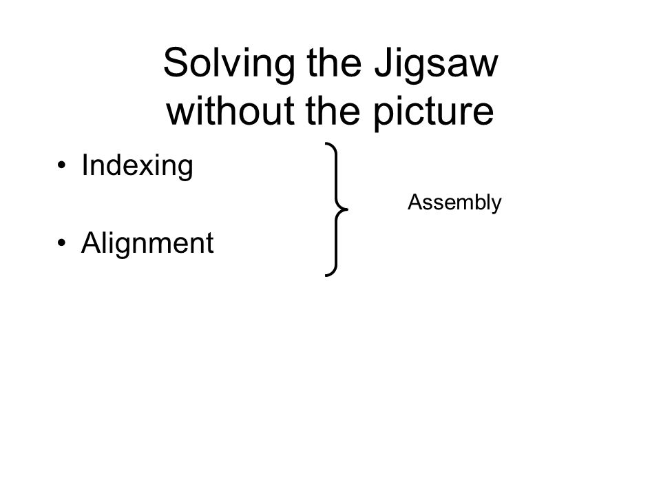 Solving the Jigsaw without the picture Indexing Alignment Assembly