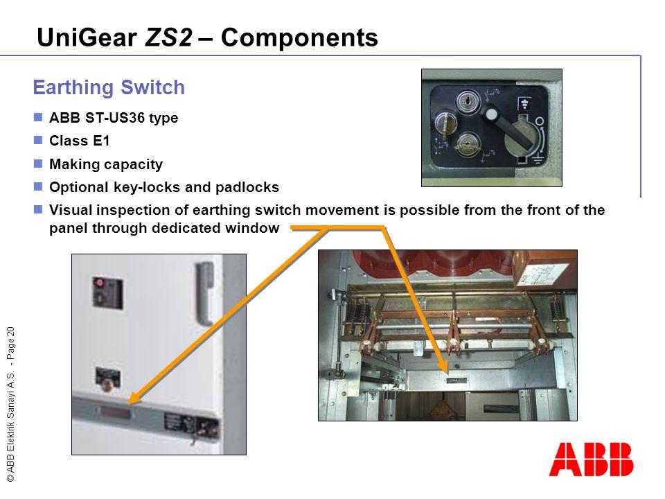 © ABB Elektrik Sanayi A.S. - Page 20 UniGear ZS2 – Components Earthing Switch ABB ST-US36 type Class E1 Making capacity Optional key-locks and padlock