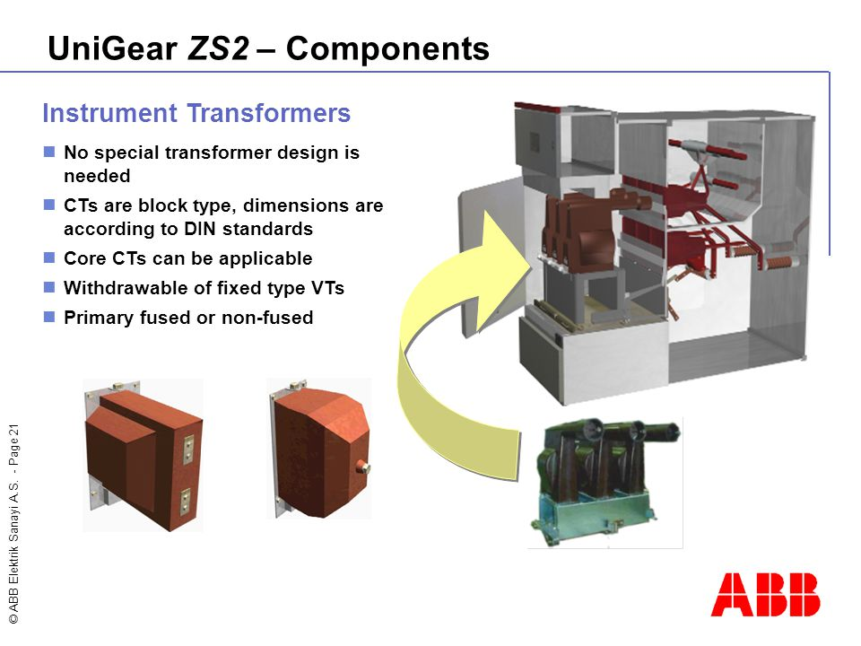© ABB Elektrik Sanayi A.S. - Page 21 Instrument Transformers No special transformer design is needed CTs are block type, dimensions are according to D