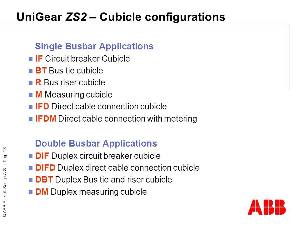 © ABB Elektrik Sanayi A.S. - Page 23 Single Busbar Applications IF Circuit breaker Cubicle BT Bus tie cubicle R Bus riser cubicle M Measuring cubicle