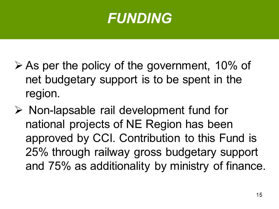  As per the policy of the government, 10% of net budgetary support is to be spent in the region.