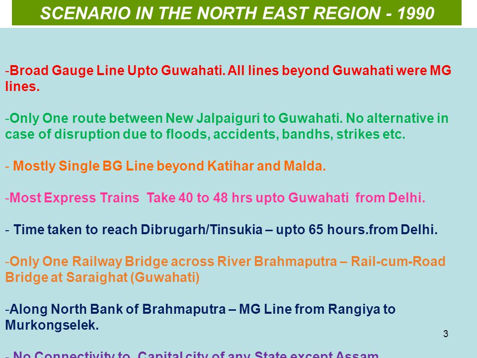 SCENARIO IN THE NORTH EAST REGION - 1990 -Broad Gauge Line Upto Guwahati.