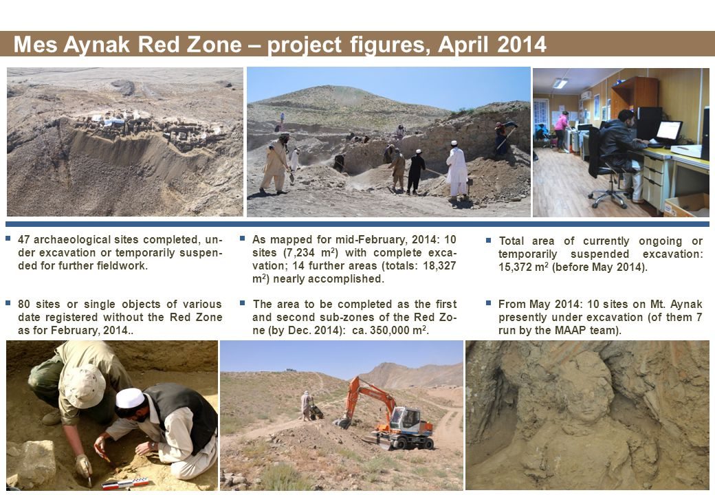 47 archaeological sites completed, un- der excavation or temporarily suspen- ded for further fieldwork.
