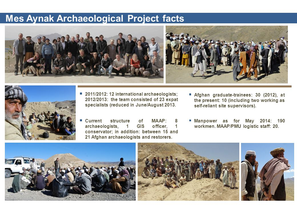 2011/2012: 12 international archaeologists; 2012/2013: the team consisted of 23 expat specialists (reduced in June/August 2013.