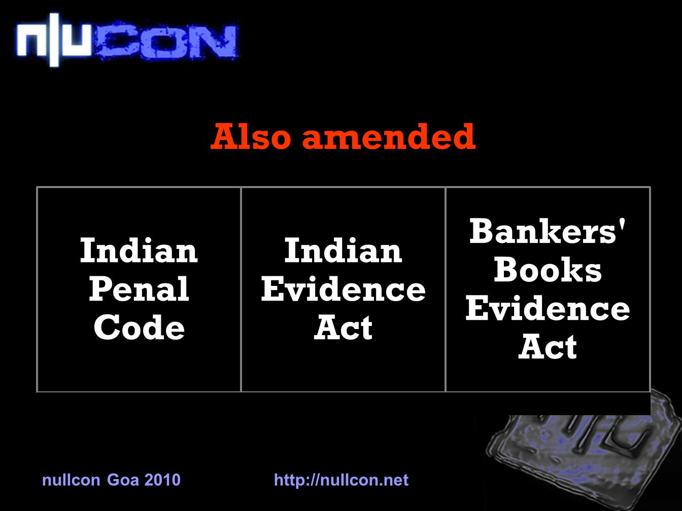 Also amended Indian Penal Code Indian Evidence Act Bankers Books Evidence Act nullcon Goa 2010http://nullcon.net