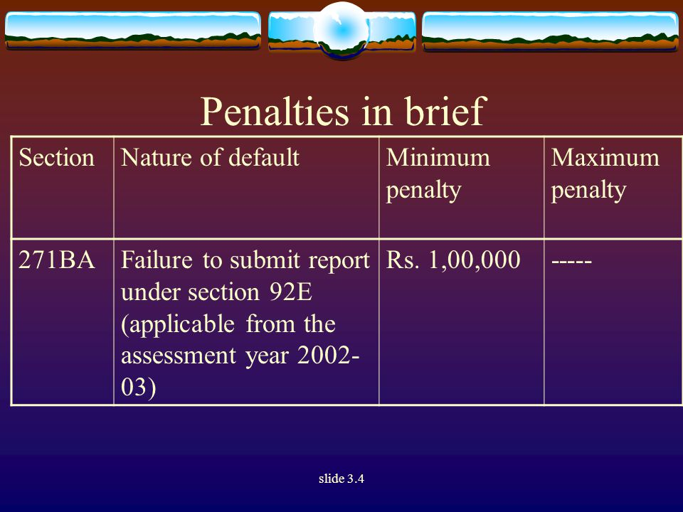 slide 3.4 Penalties in brief SectionNature of defaultMinimum penalty Maximum penalty 271BAFailure to submit report under section 92E (applicable from the assessment year 2002- 03) Rs.