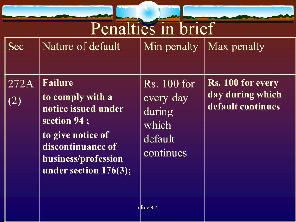 slide 3.4 Penalties in brief SecNature of defaultMin penaltyMax penalty 272A (2) Failure to comply with a notice issued under section 94 ; to give notice of discontinuance of business/profession under section 176(3); Rs.