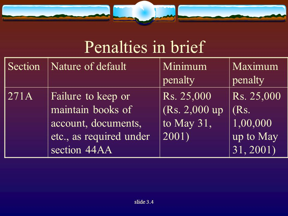 slide 3.4 Penalties in brief SectionNature of defaultMinimum penalty Maximum penalty 271AAFailure to keep and maintain information and documents in respect of international transaction (applicable from the assessment year 2002-03) 2% of value of each international transaction ---