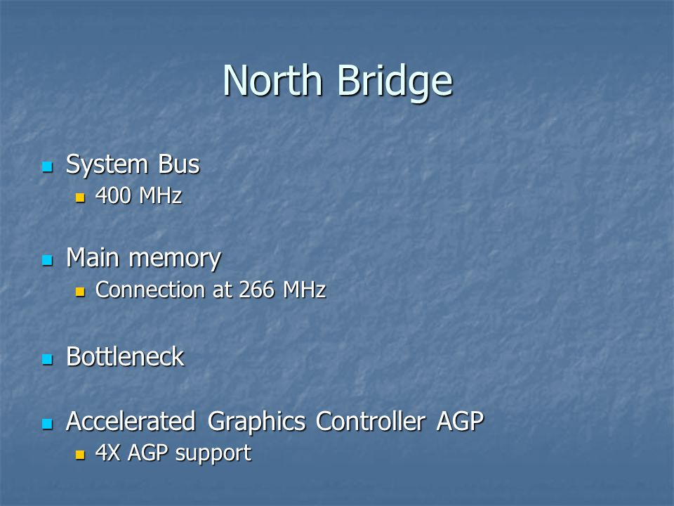 North Bridge System Bus System Bus 400 MHz 400 MHz Main memory Main memory Connection at 266 MHz Connection at 266 MHz Bottleneck Bottleneck Accelerated Graphics Controller AGP Accelerated Graphics Controller AGP 4X AGP support 4X AGP support
