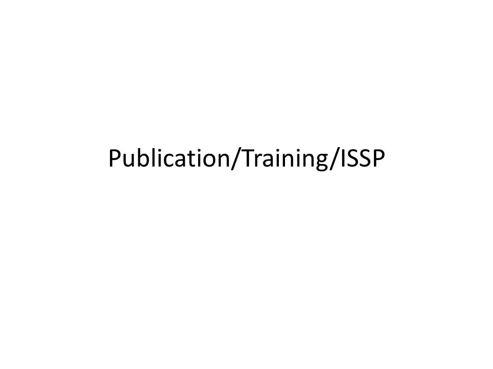 Publication/Training/ISSP