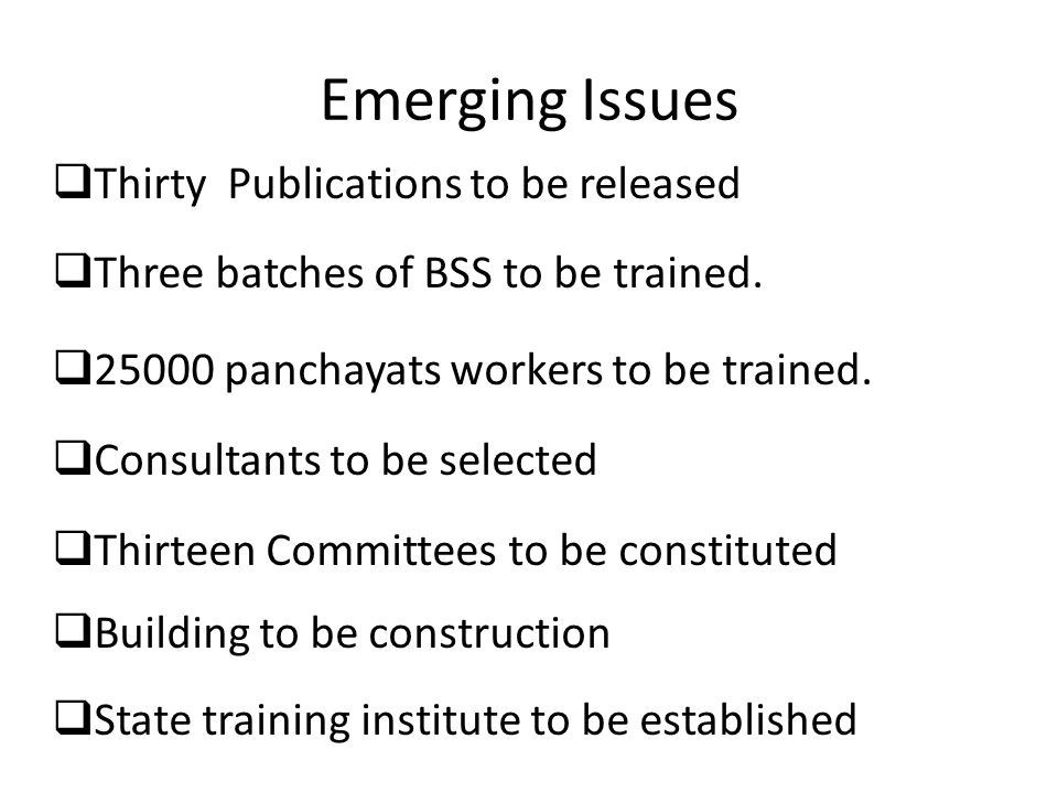 Emerging Issues  Thirty Publications to be released  Three batches of BSS to be trained.