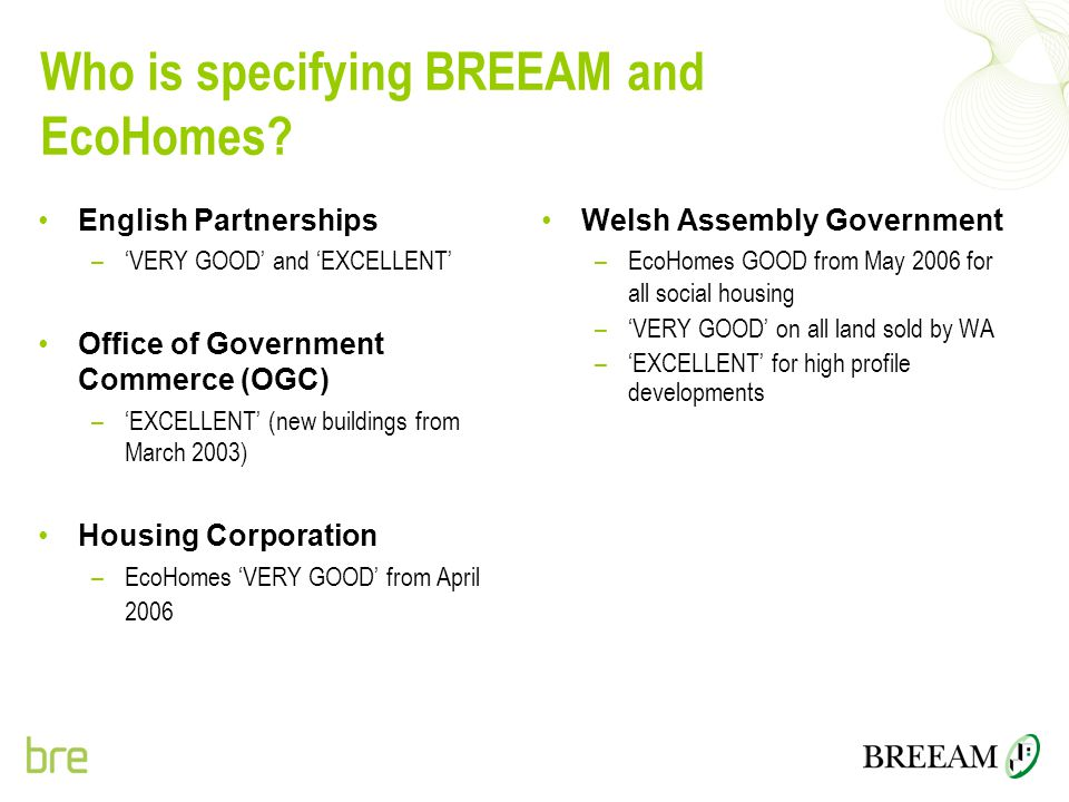 Who is specifying BREEAM and EcoHomes? English Partnerships –'VERY GOOD' and 'EXCELLENT' Office of Government Commerce (OGC) –'EXCELLENT' (new buildin