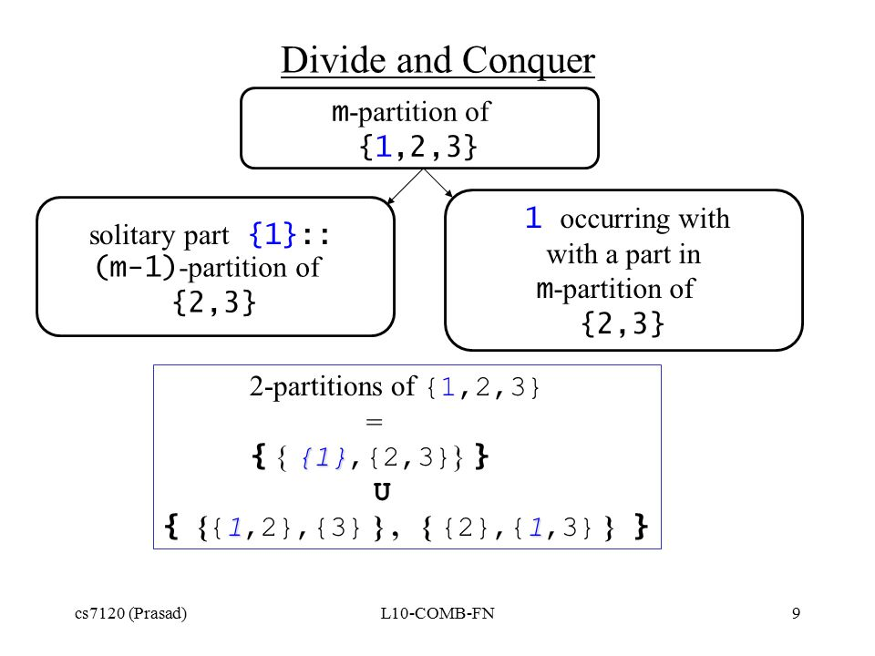 cs7120 (Prasad)L10-COMB-FN9 (m-1) -partition of {2,3} Divide and Conquer m -partition of {1,2,3} 1 occurring with with a part in m -partition of {2,3} solitary part {1}:: 2-partitions of {1,2,3} = {1} { { {1},{2,3} } } U 11 { { {1,2},{3} }, { {2},{1,3} } }