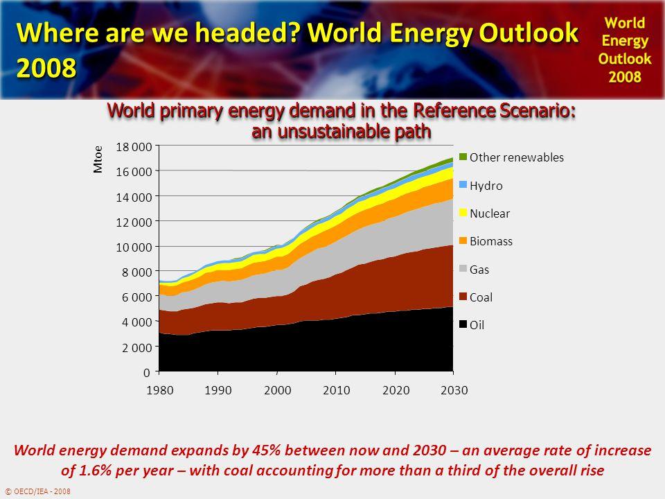 © OECD/IEA - 2008 0 2 000 4 000 6 000 8 000 10 000 12 000 14 000 16 000 18 000 198019902000201020202030 Mtoe Other renewables Hydro Nuclear Biomass Ga