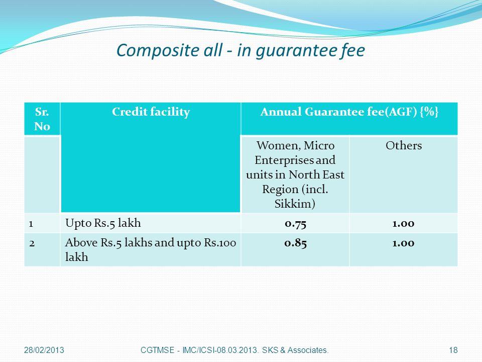 Composite all - in guarantee fee Sr. No Credit facilityAnnual Guarantee fee(AGF) {%} Women, Micro Enterprises and units in North East Region (incl. Si