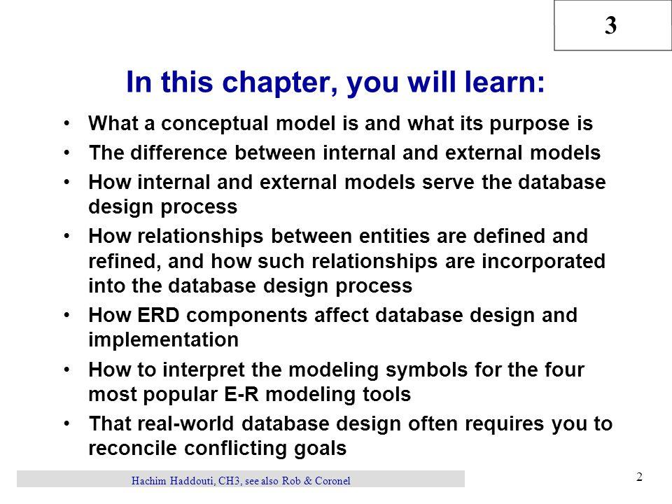 3 Hachim Haddouti, CH3, see also Rob & Coronel 23 Comparison of E-R Modeling Symbols