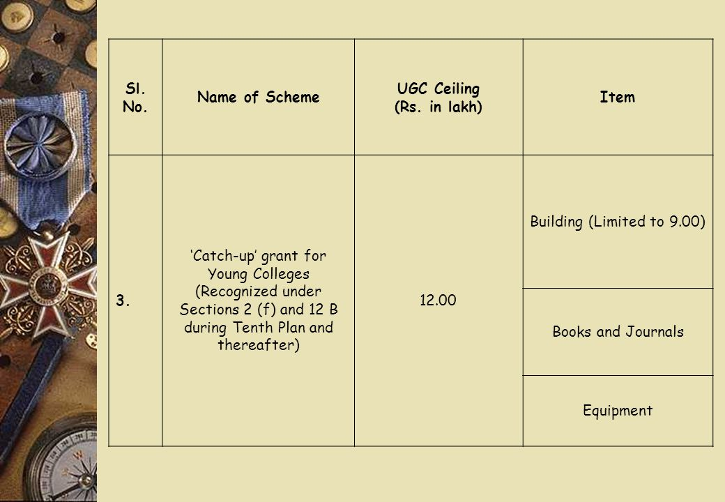 Sl. No. Name of Scheme UGC Ceiling (Rs. in lakh) Item 3. 'Catch-up' grant for Young Colleges (Recognized under Sections 2 (f) and 12 B during Tenth Pl
