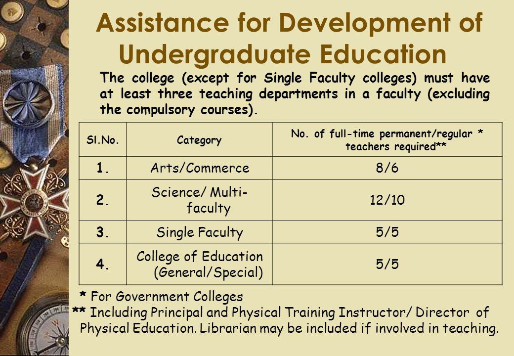 Assistance for Development of Undergraduate Education The college (except for Single Faculty colleges) must have at least three teaching departments i