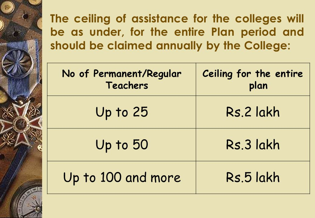 The ceiling of assistance for the colleges will be as under, for the entire Plan period and should be claimed annually by the College: No of Permanent/Regular Teachers Ceiling for the entire plan Up to 25Rs.2 lakh Up to 50Rs.3 lakh Up to 100 and moreRs.5 lakh