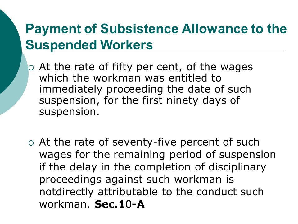 Payment of Subsistence Allowance to the Suspended Workers  At the rate of fifty per cent, of the wages which the workman was entitled to immediately