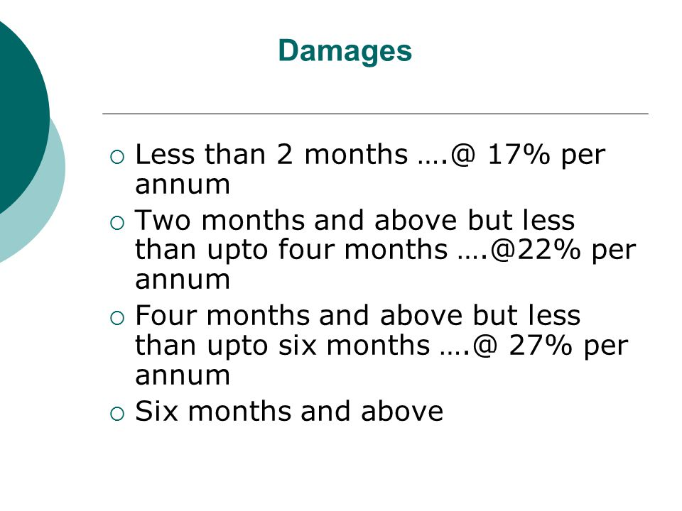 Damages  Less than 2 months ….@ 17% per annum  Two months and above but less than upto four months ….@22% per annum  Four months and above but less